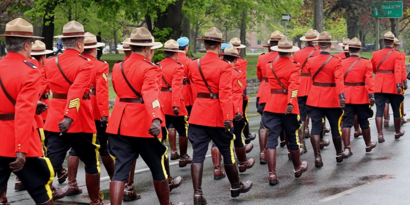 Canadian mountie police marching in parade