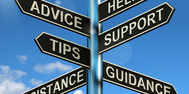 Advice Help Support And Tips Signpost Shows Information And Guidance