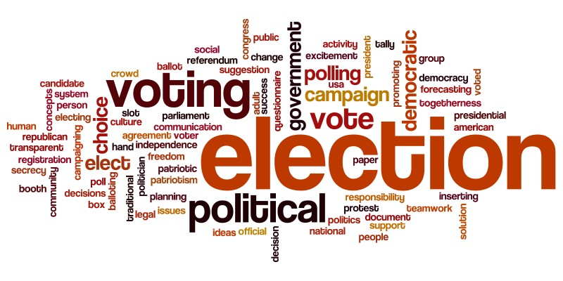 Election concept word cloud background