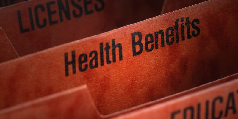 Filing folder featuring health benefits tab