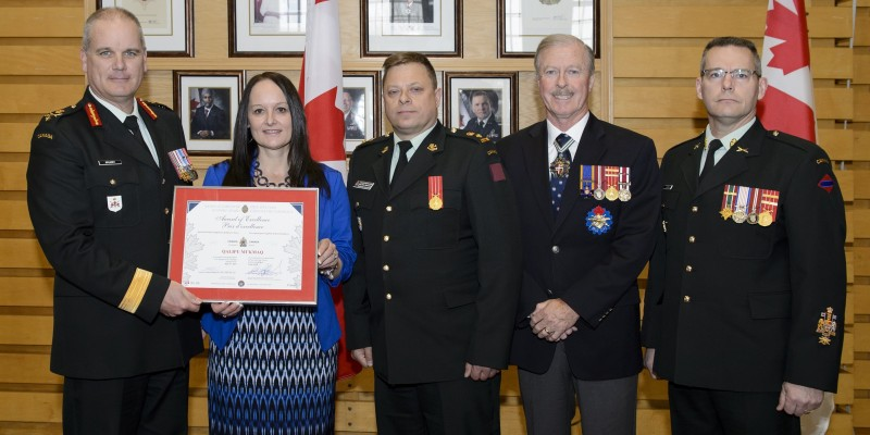Ms. Monique Carroll of the Qalipu Mi'Kmaq, receives a special award for support to the Reserve Force during the Canadian Forces Liaison Council Awards Ceremony at Cartier Square Drill Hall on May 9th, 2019.  The Canadian Armed Forces recognize employers and educators from across Canada for outstanding support to their employees and students who serve as reservists. Their support allows Canadian Armed Forces to fulfill its commitment under Canada's Defence Policy Strong, Secure, Engaged and generate full-time capability through a Reserve Force providing part-time service.  l-r: Brigadier-General Liam McGarry, Chief of Staff Army Operations, Ms. Monique Carroll, Lieutenant-Colonel Kevin Bond, Mr. Bill Mahoney.  Photo Credit: Corporal Lisa Fenton Canadian Forces Support Unit (Ottawa) Imaging Services © 2019 DND-MDN Canada SU06-2019-0329-007