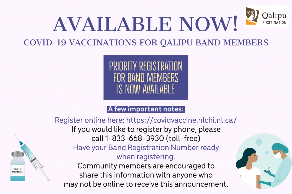 Covid vaccine for Band Members now available
